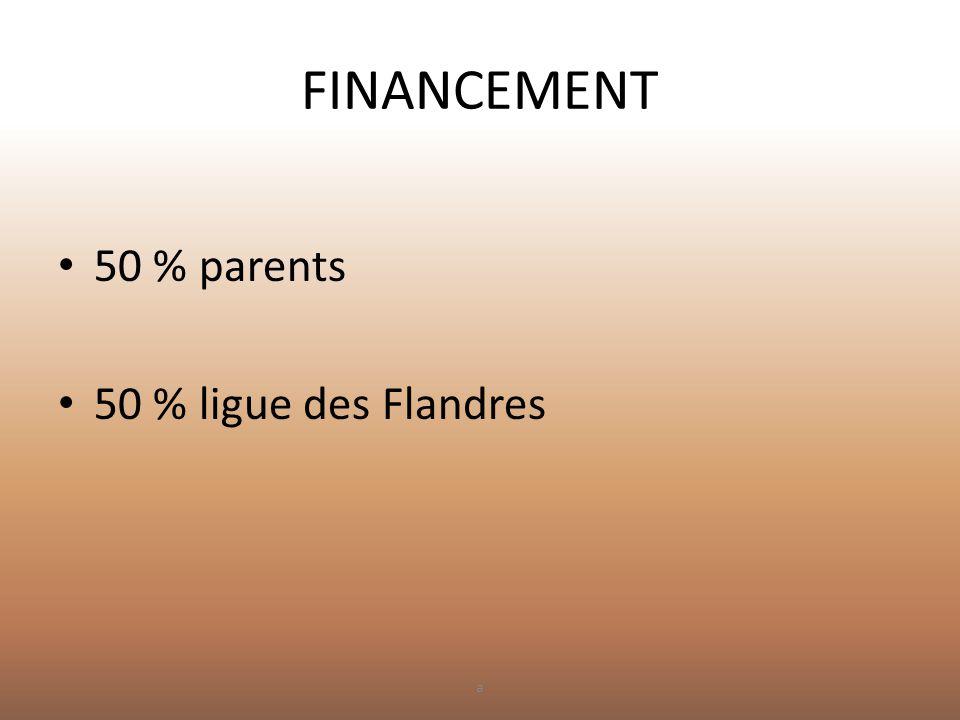FINANCEMENT 50 % parents 50 % ligue des Flandres a