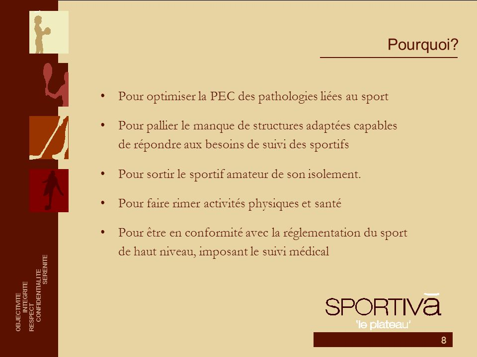 Pourquoi Pour optimiser la PEC des pathologies liées au sport