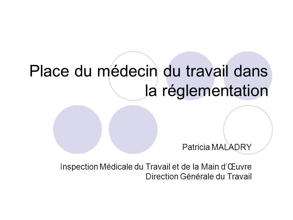 Place du médecin du travail dans la réglementation