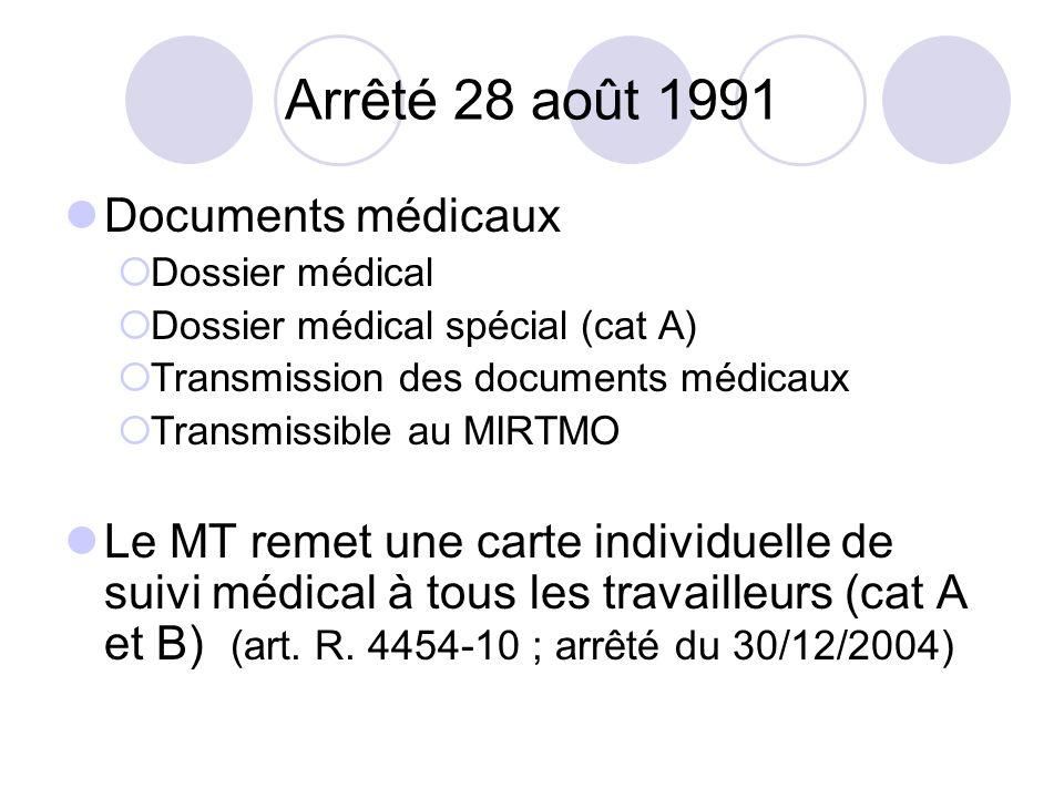 Arrêté 28 août 1991 Documents médicaux