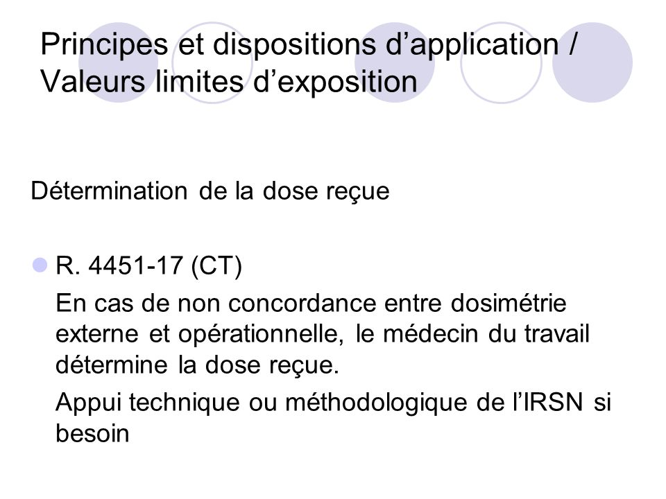 Principes et dispositions d'application / Valeurs limites d'exposition