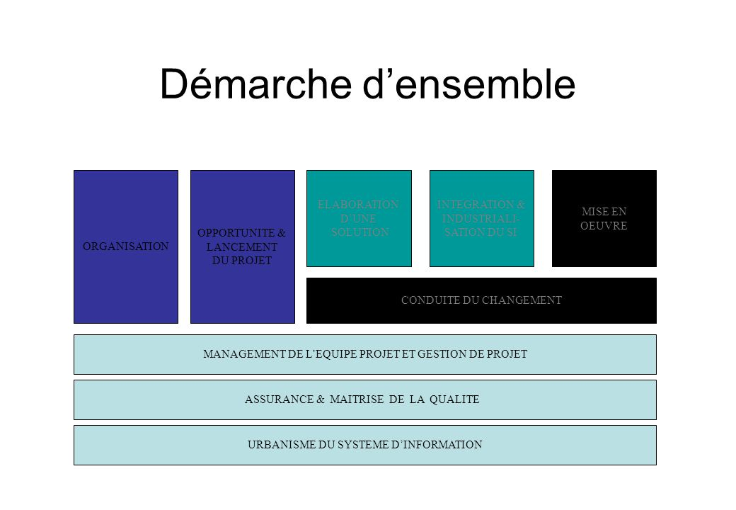 Démarche d'ensemble ORGANISATION OPPORTUNITE & LANCEMENT DU PROJET