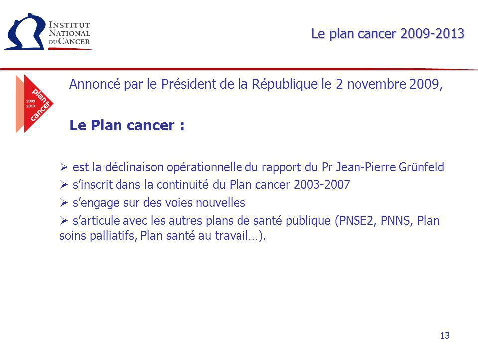 Le Plan cancer : Le plan cancer 2009-2013