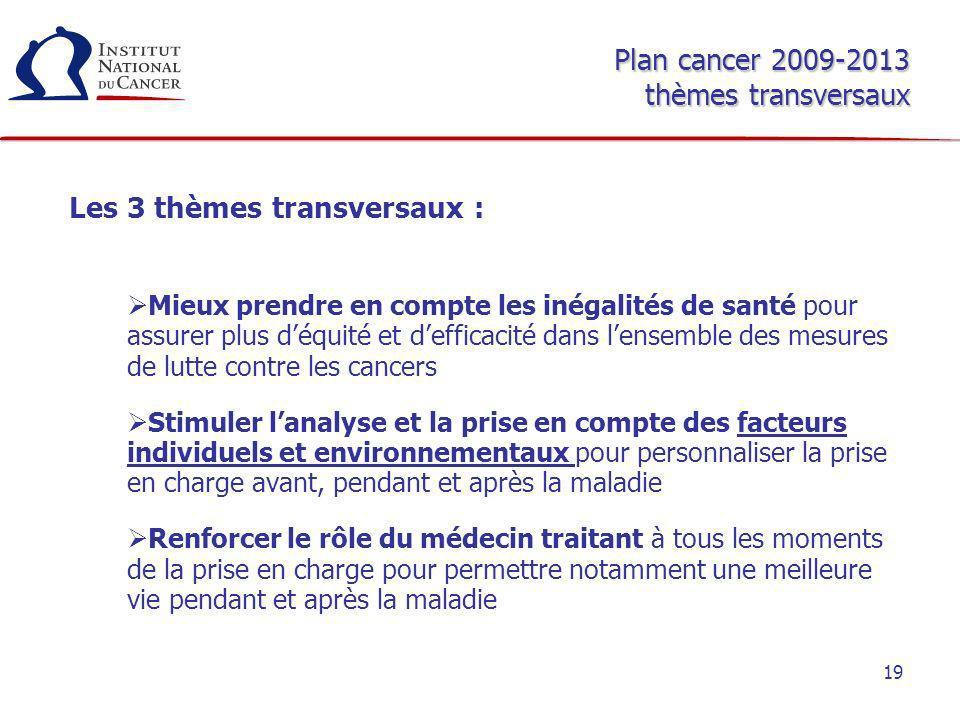 Plan cancer 2009-2013 thèmes transversaux