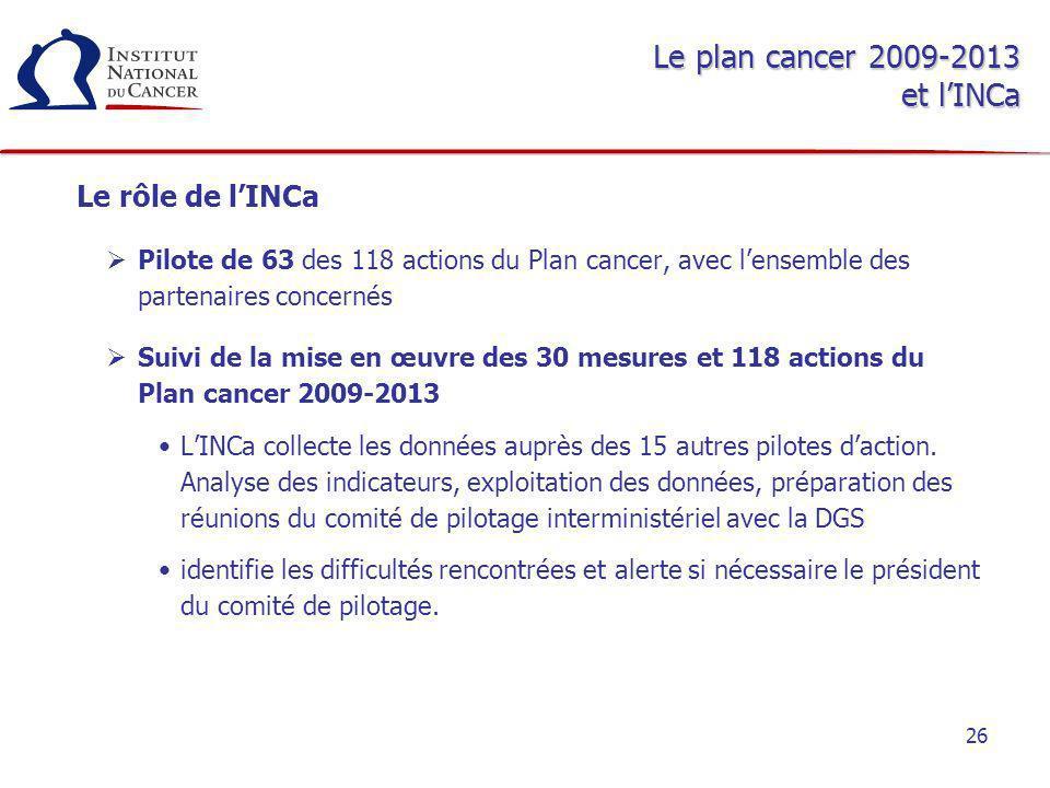 Le plan cancer 2009-2013 et l'INCa