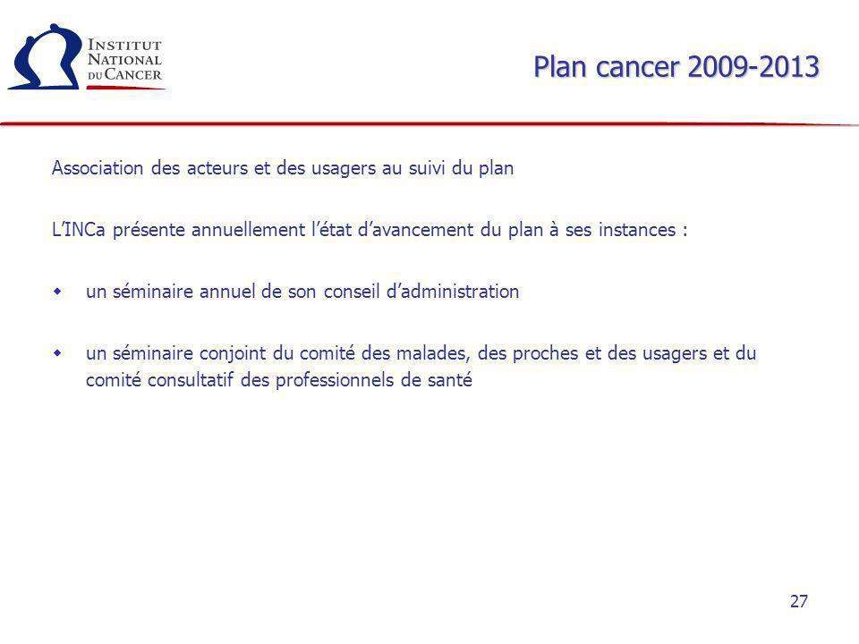 Plan cancer 2009-2013 Association des acteurs et des usagers au suivi du plan.