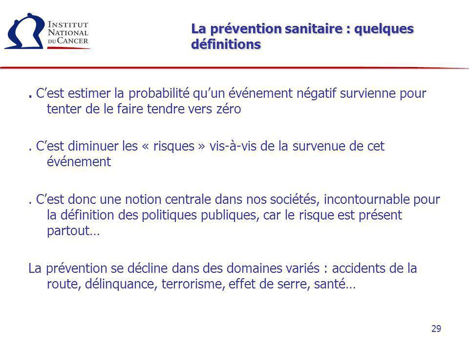 La prévention sanitaire : quelques définitions