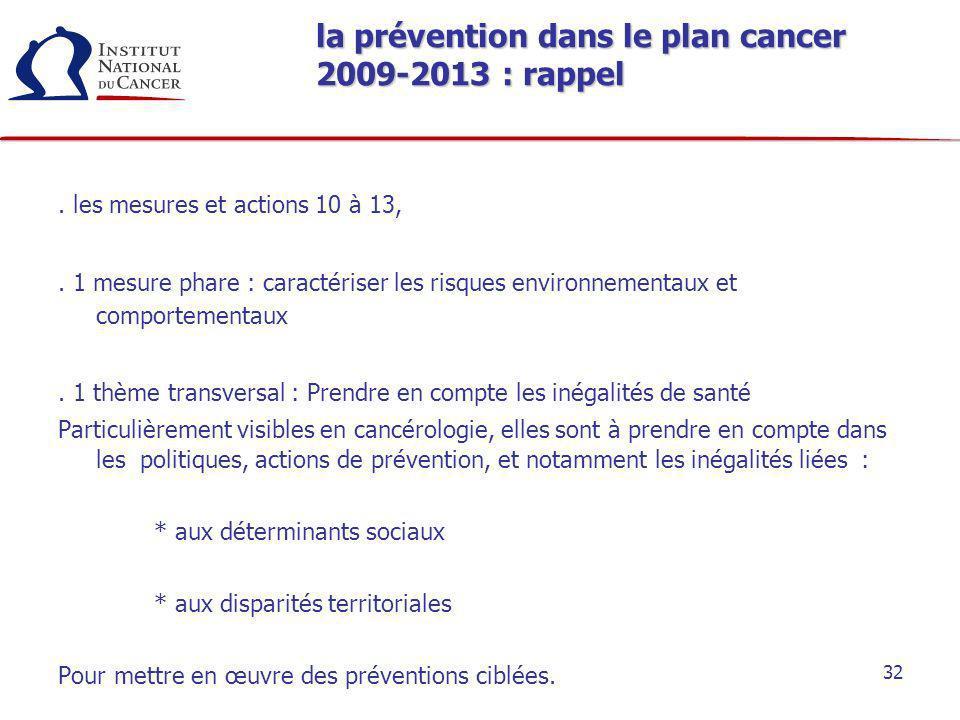 la prévention dans le plan cancer 2009-2013 : rappel