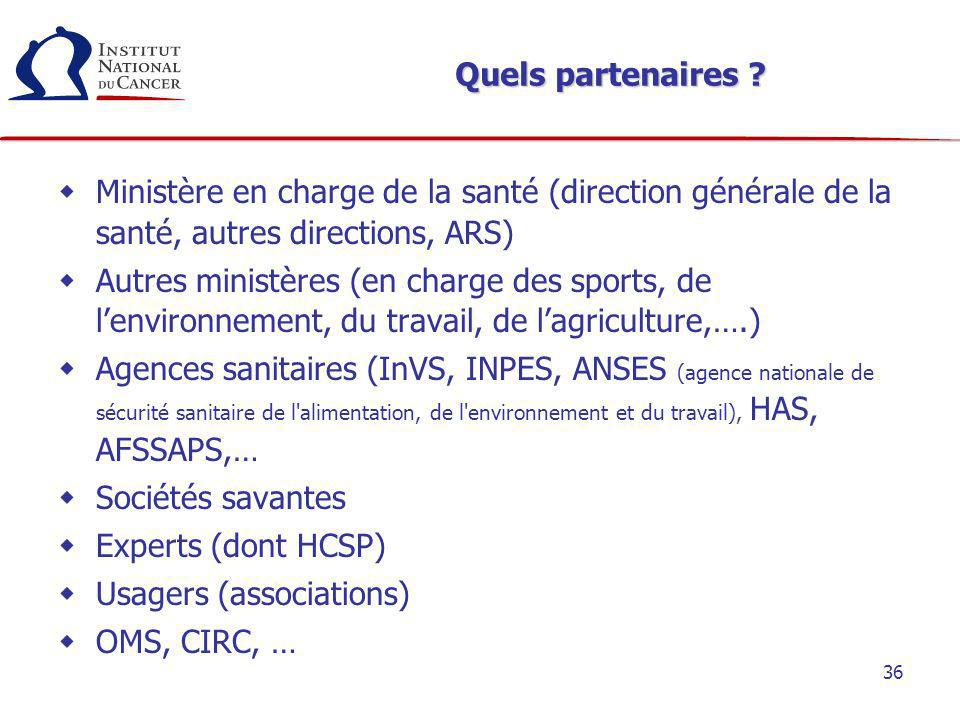 Quels partenaires Ministère en charge de la santé (direction générale de la santé, autres directions, ARS)
