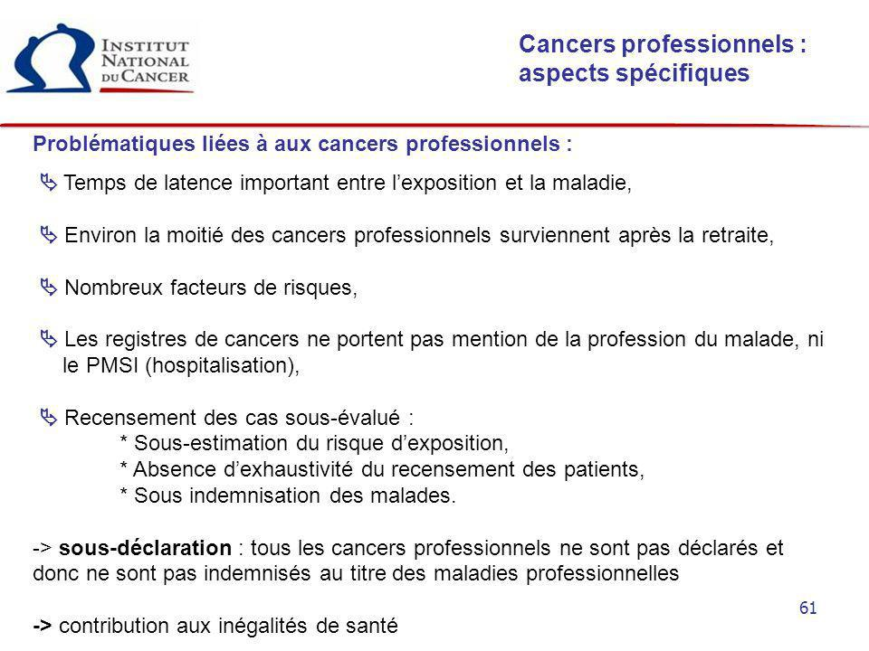 Cancers professionnels : aspects spécifiques
