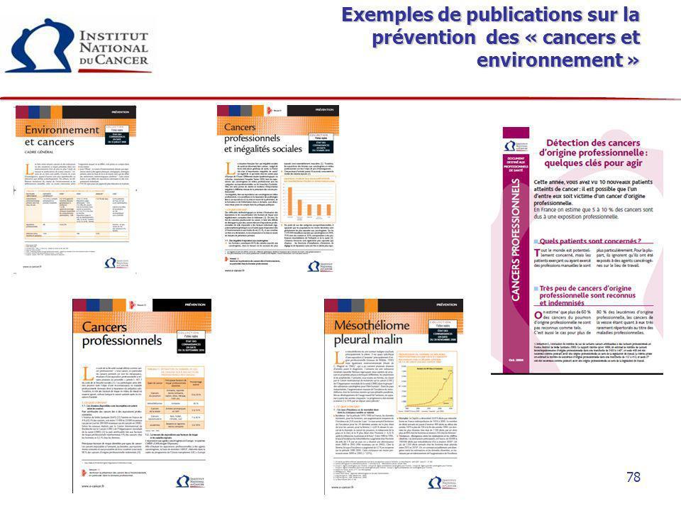 Exemples de publications sur la prévention des « cancers et environnement »