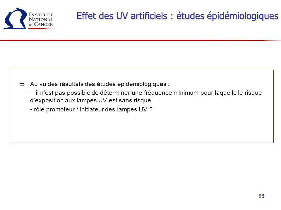 Effet des UV artificiels : études épidémiologiques