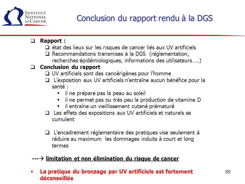 Conclusion du rapport rendu à la DGS