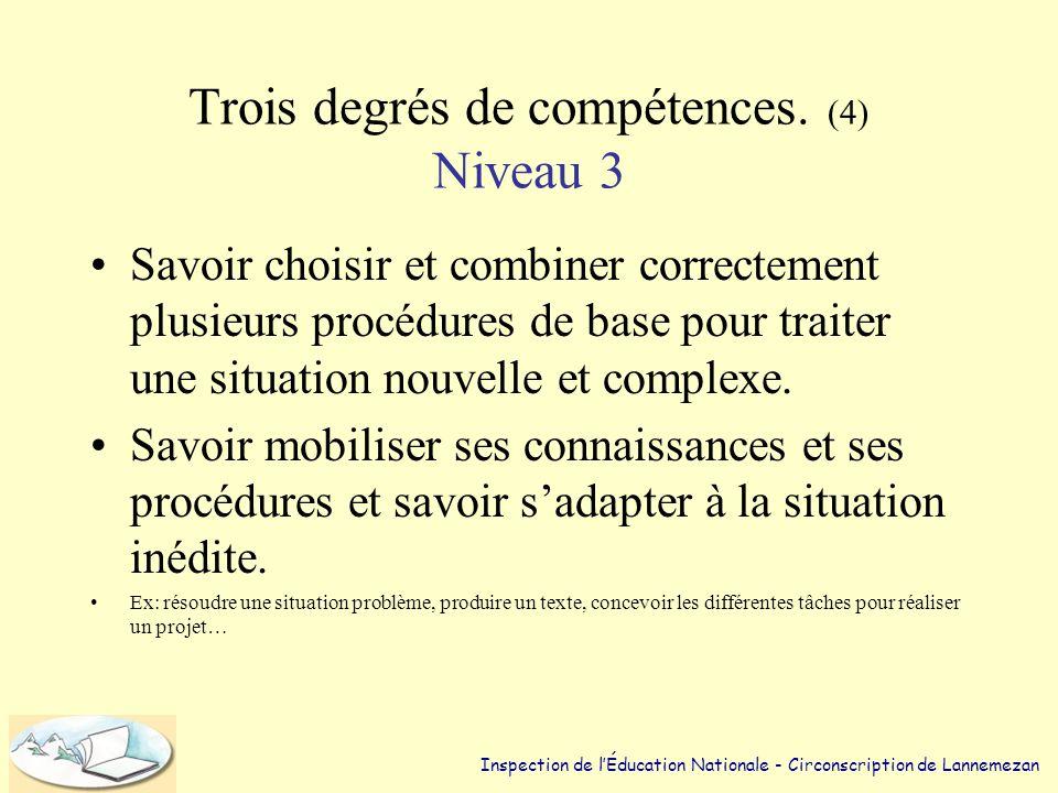 Trois degrés de compétences. (4) Niveau 3