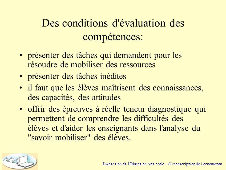 Des conditions d évaluation des compétences: