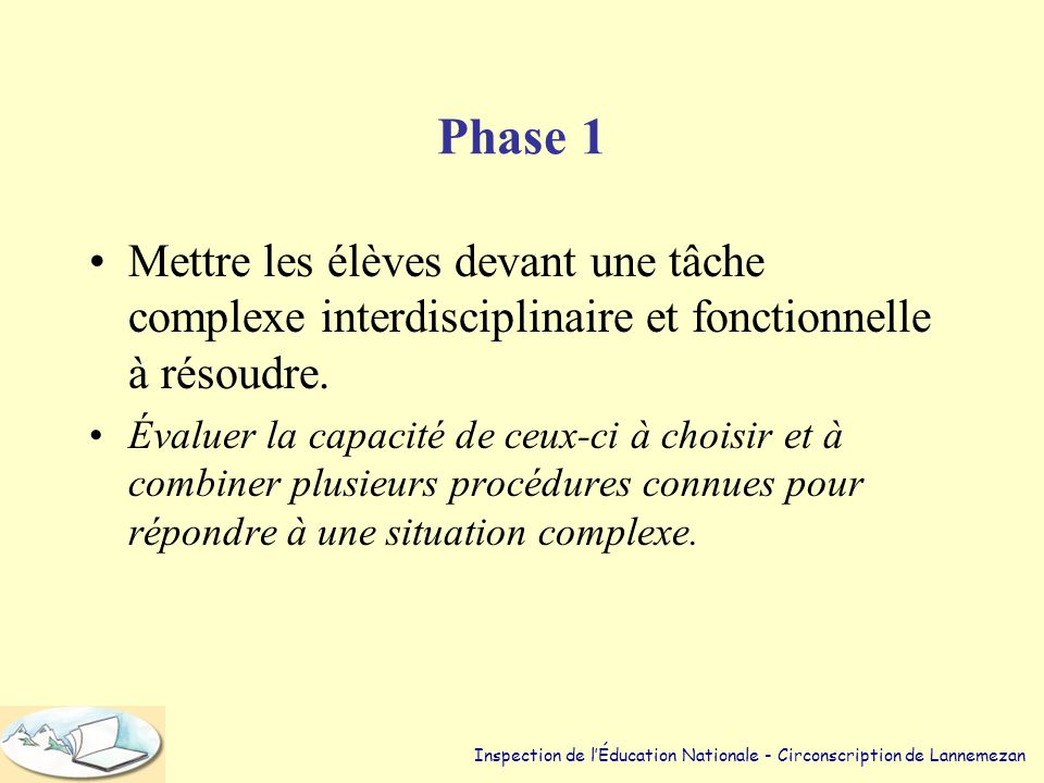 Phase 1 Mettre les élèves devant une tâche complexe interdisciplinaire et fonctionnelle à résoudre.