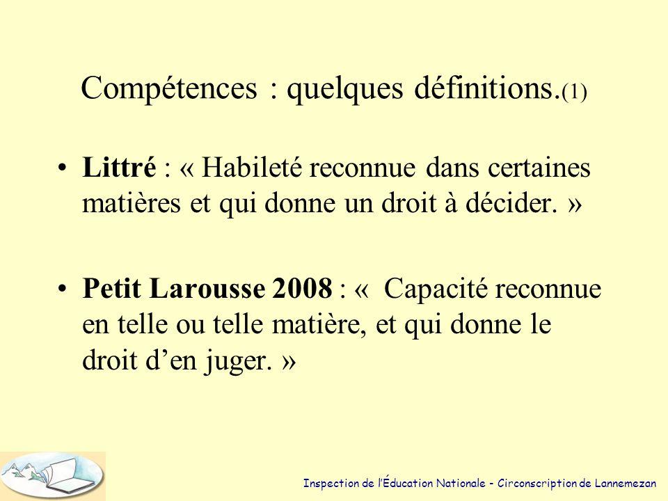 Compétences : quelques définitions.(1)
