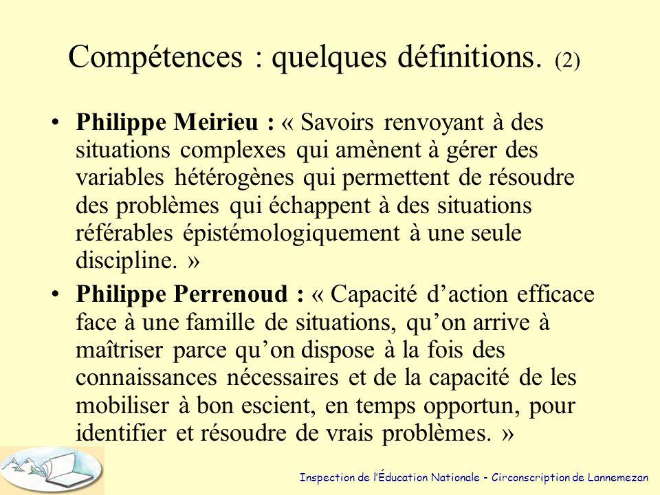 Compétences : quelques définitions. (2)