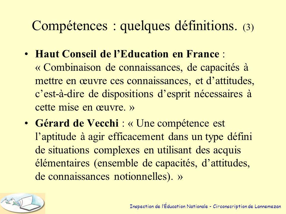 Compétences : quelques définitions. (3)