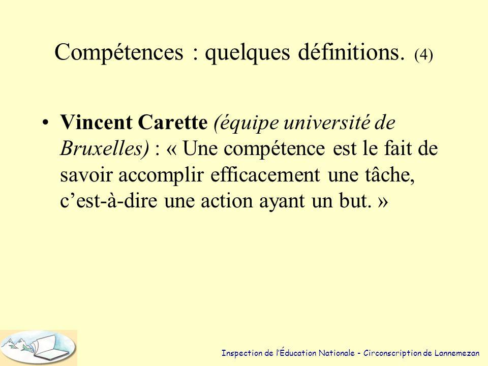 Compétences : quelques définitions. (4)