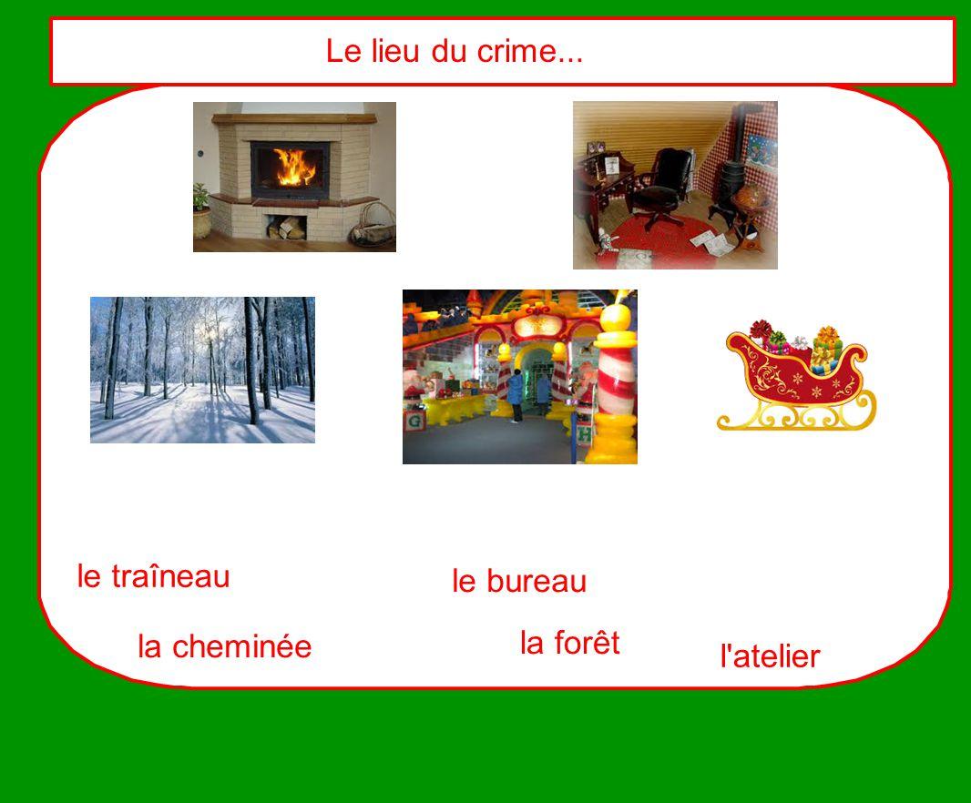 Le lieu du crime... le traîneau le bureau la cheminée la forêt l atelier