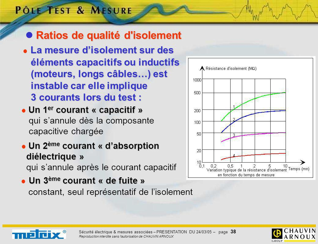  Ratios de qualité d isolement