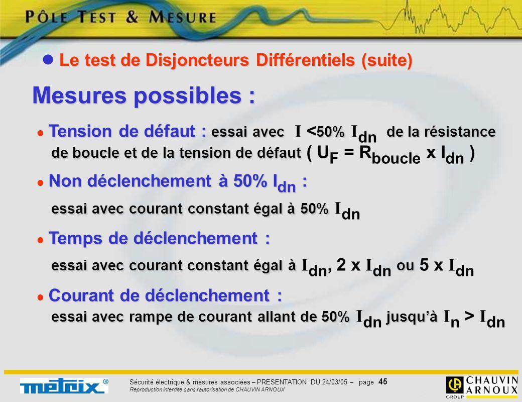 Mesures possibles :  Le test de Disjoncteurs Différentiels (suite)