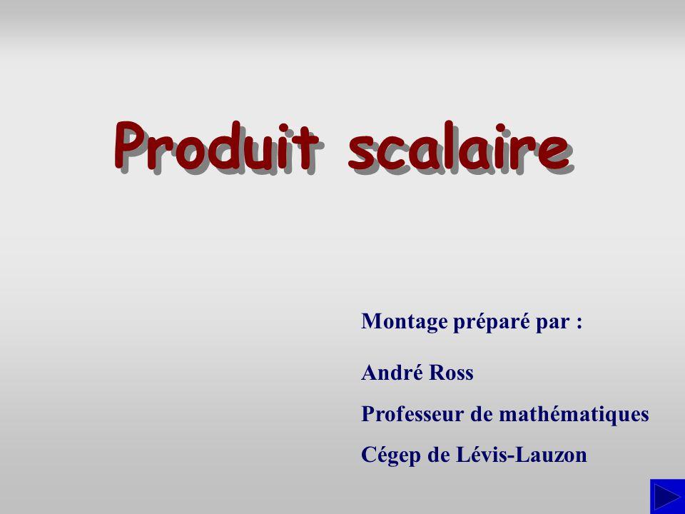 Produit scalaire Montage préparé par : André Ross