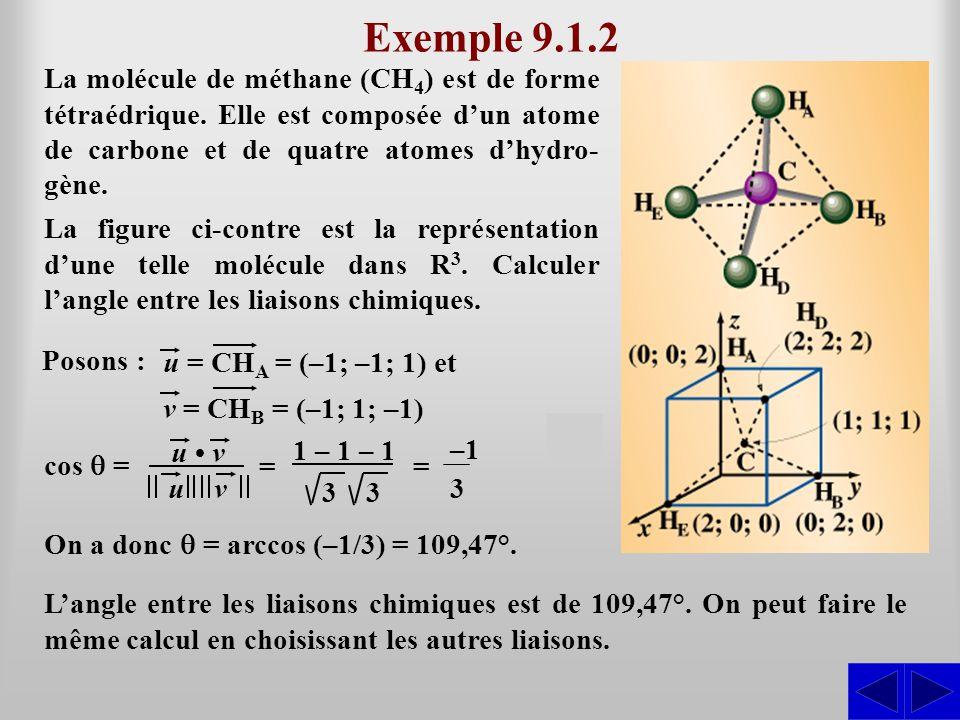 Exemple 9.1.2 La molécule de méthane (CH4) est de forme tétraédrique. Elle est composée d'un atome de carbone et de quatre atomes d'hydro-gène.