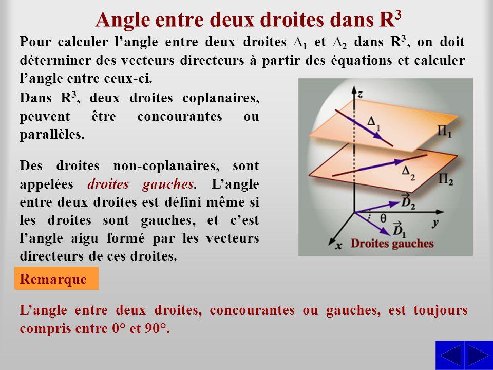 Angle entre deux droites dans R3