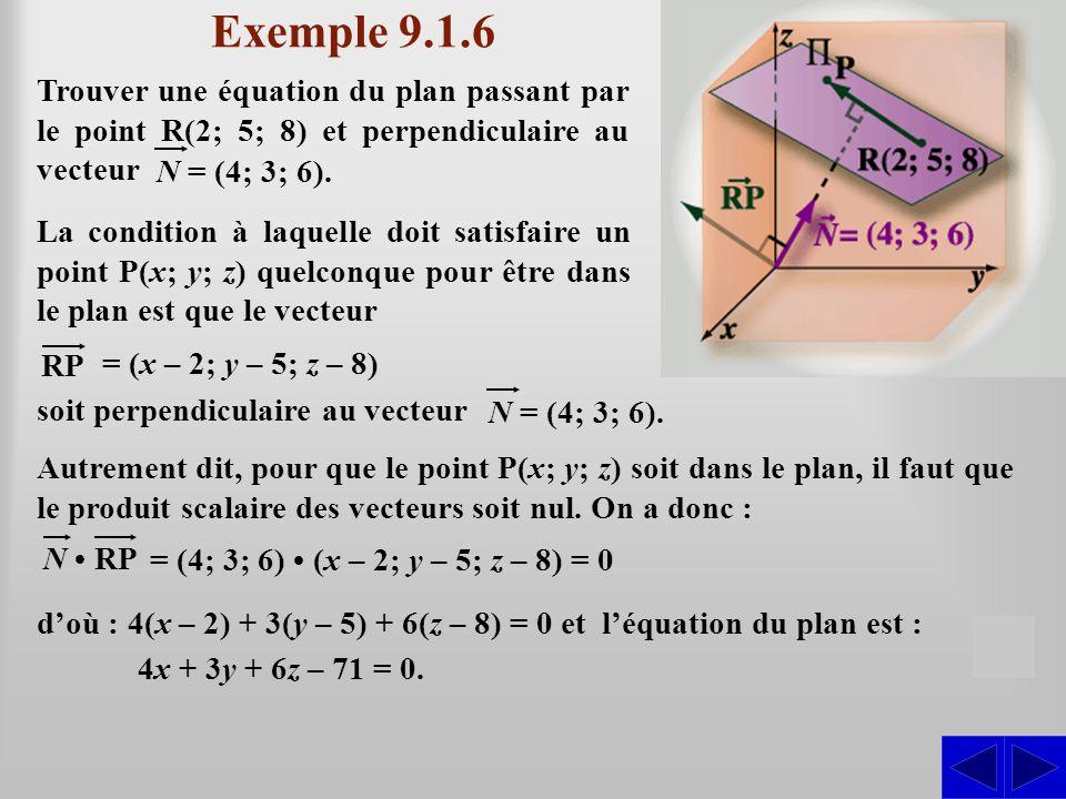 Exemple 9.1.6 Trouver une équation du plan passant par le point R(2; 5; 8) et perpendiculaire au vecteur.