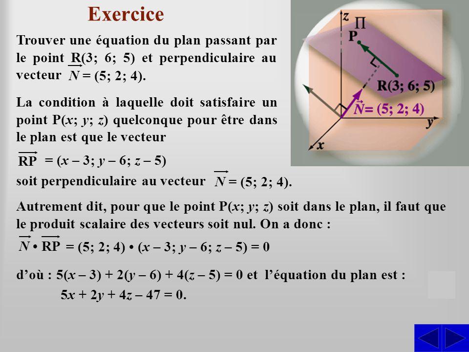Exercice Trouver une équation du plan passant par le point R(3; 6; 5) et perpendiculaire au vecteur.