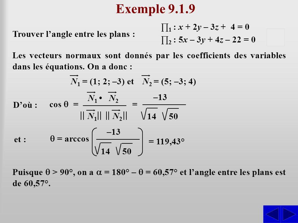 Exemple 9.1.9 S S Trouver l'angle entre les plans :