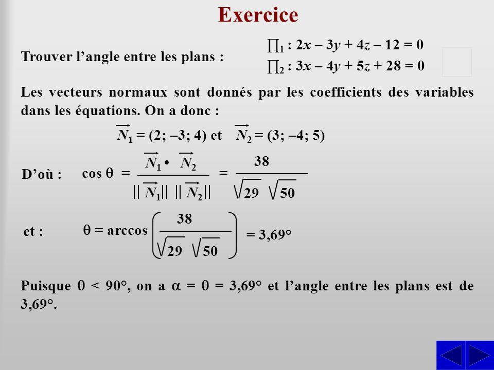 Exercice S S Trouver l'angle entre les plans :