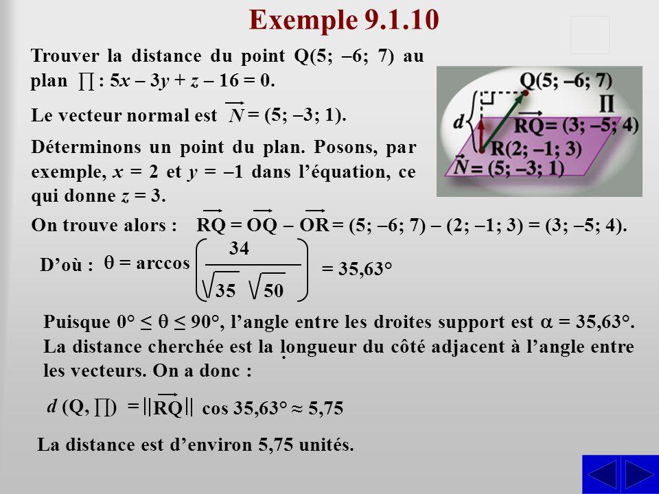 Exemple 9.1.10 S. Trouver la distance du point Q(5; –6; 7) au plan ∏ : 5x – 3y + z – 16 = 0. Le vecteur normal est.