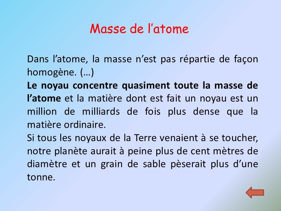 Masse de l'atome Dans l'atome, la masse n'est pas répartie de façon homogène. (…)