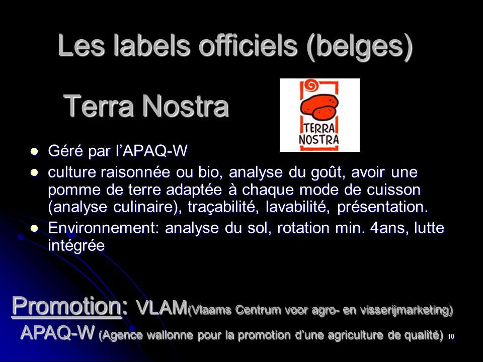 Les labels officiels (belges)