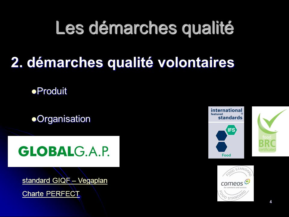 Les démarches qualité 2. démarches qualité volontaires Produit
