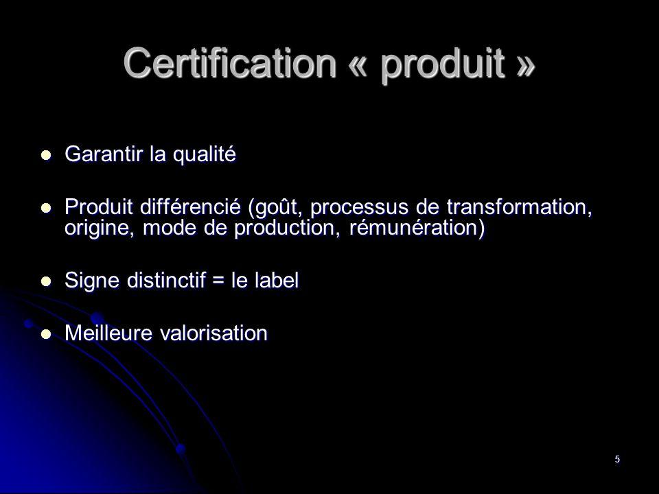 Certification « produit »