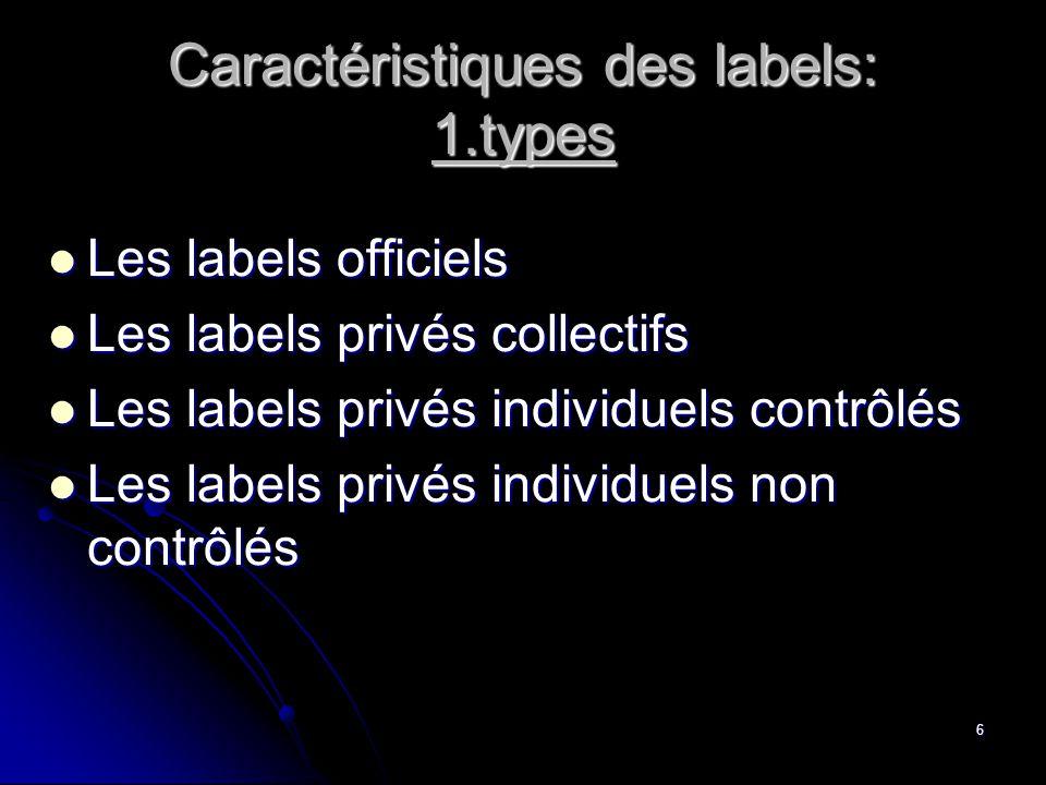 Caractéristiques des labels: 1.types