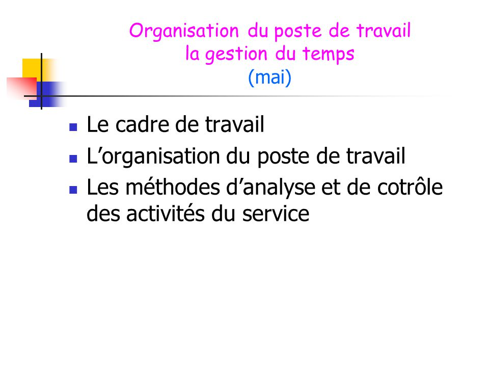 Organisation du poste de travail la gestion du temps (mai)