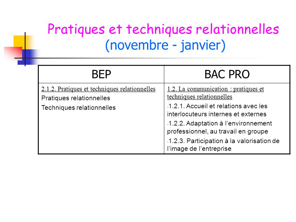 Pratiques et techniques relationnelles (novembre - janvier)