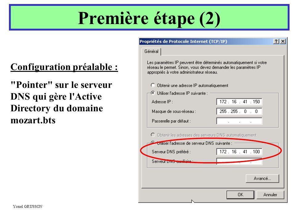 Première étape (2) Configuration préalable :