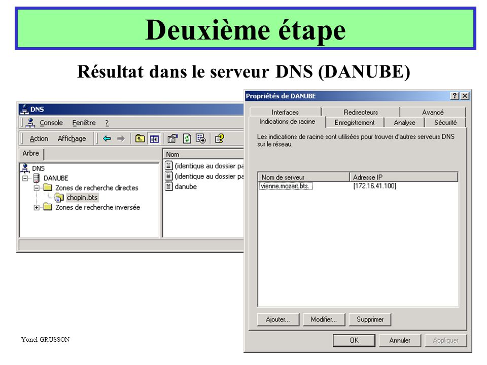 Résultat dans le serveur DNS (DANUBE)