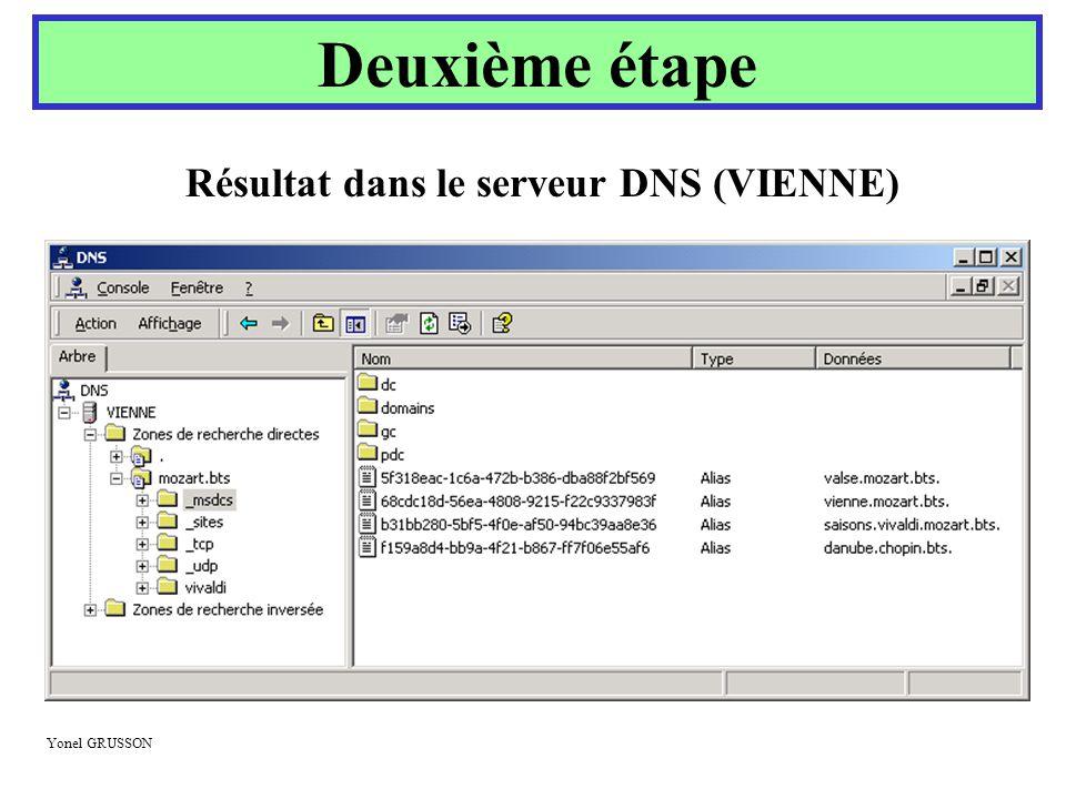 Résultat dans le serveur DNS (VIENNE)