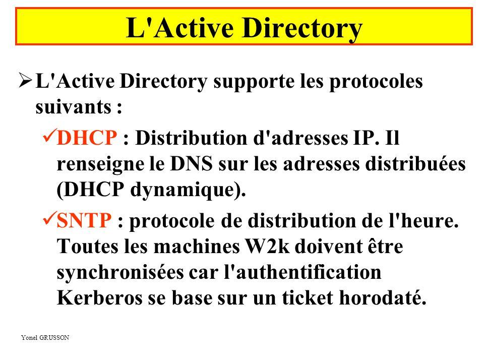 L Active Directory L Active Directory supporte les protocoles suivants :