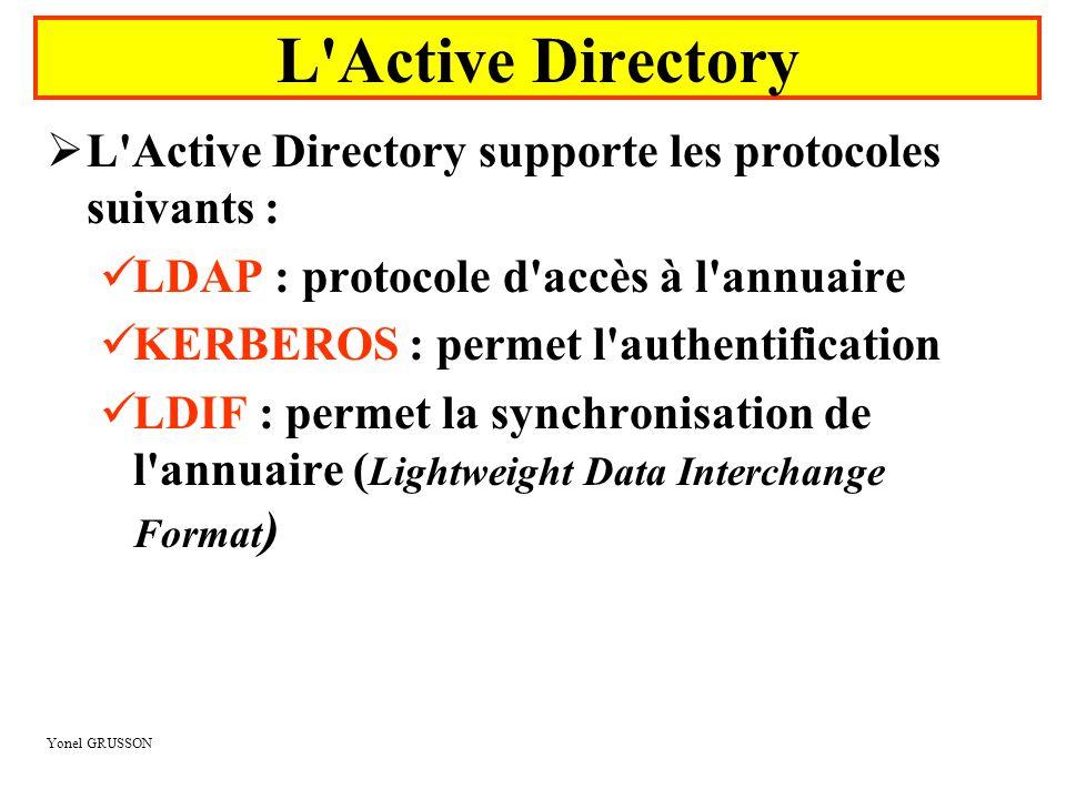 L Active Directory L Active Directory supporte les protocoles suivants : LDAP : protocole d accès à l annuaire.