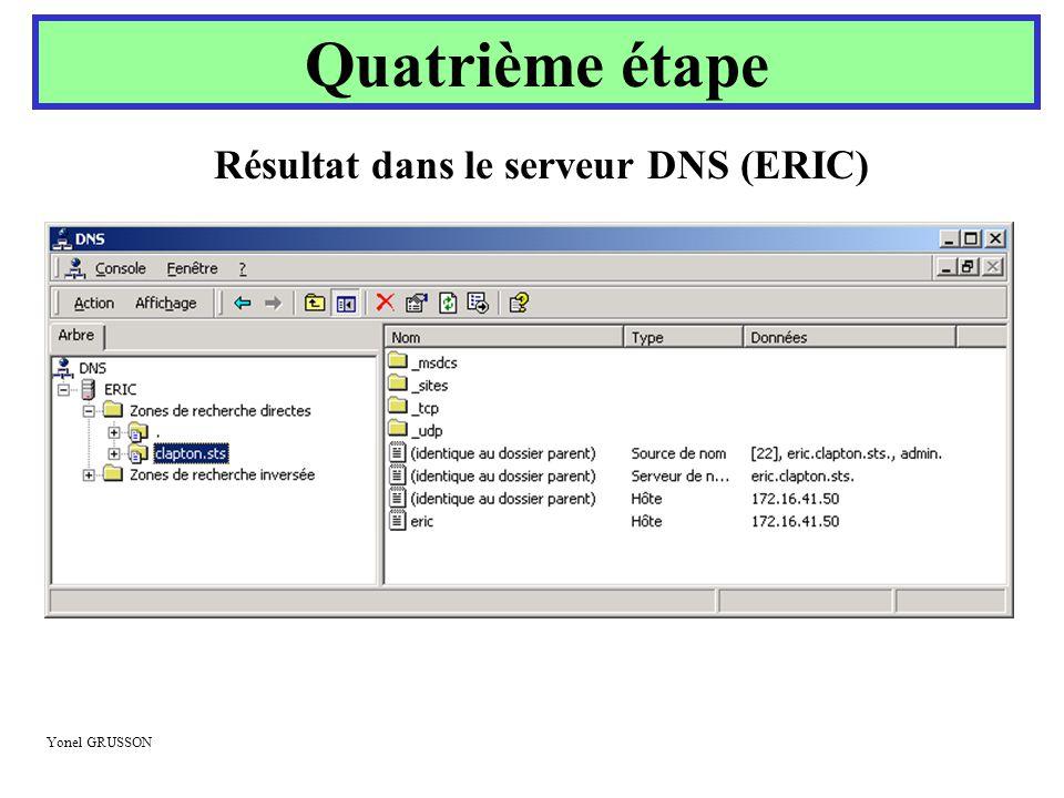 Résultat dans le serveur DNS (ERIC)