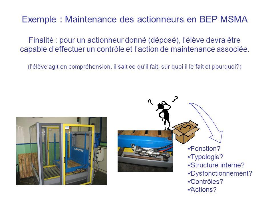 Exemple : Maintenance des actionneurs en BEP MSMA