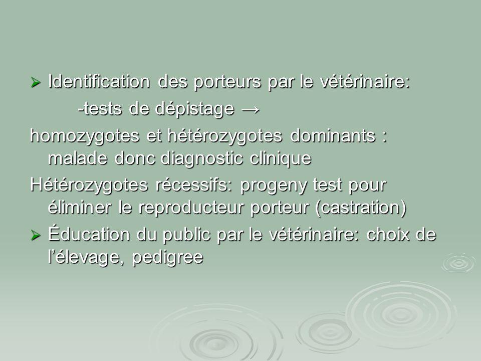 Identification des porteurs par le vétérinaire: